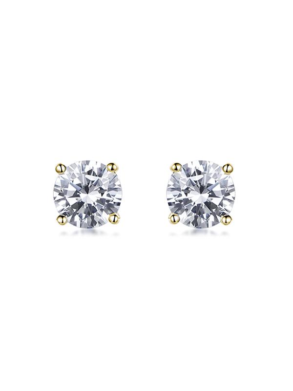 Steven Khalil Eternity Yellow Gold Stud Earrings